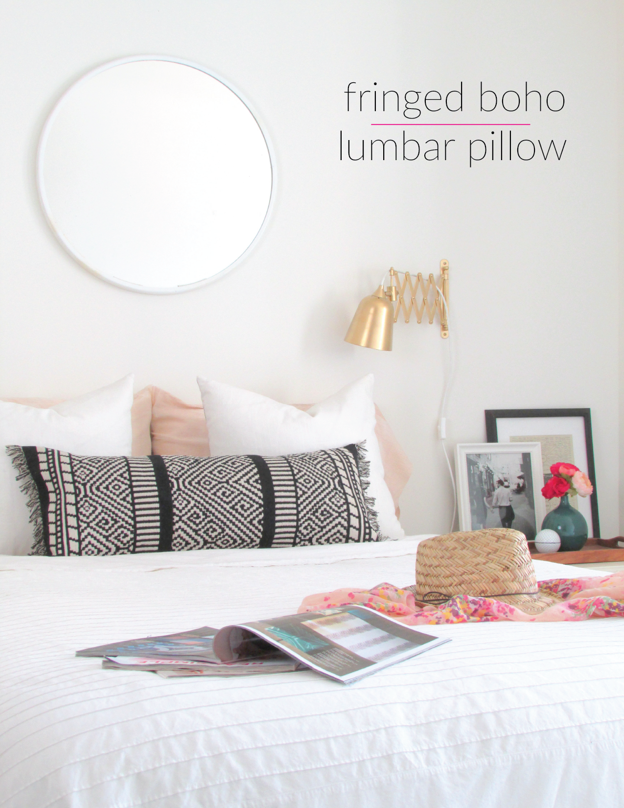 make a boho lumbar pillow from a table runner - francois et moi